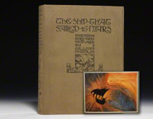 1923 first edition of The Ship that Sailed to Mars in the original dust jacket. Inset illustration: The Meteor.