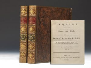A first edition (1776) of Adam Smith's Wealth of Nations, and the beginning of modern economics.