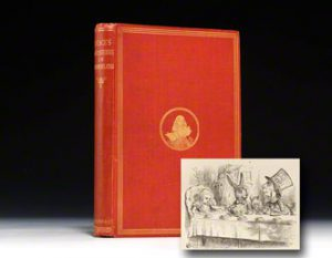 1865 first American edition of Alice in Wonderland in the original cloth.  You'll notice that it looks similar to the first official London edition.