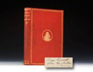 1866 first (official London) edition of Alice in Wonderland in the original cloth.  This copy signed and presented by Carroll.