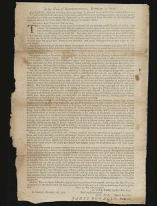 November 1776 broadside, a message of inspiration and encouragement from the Massachusetts government to the troops fighting in the Continental Army