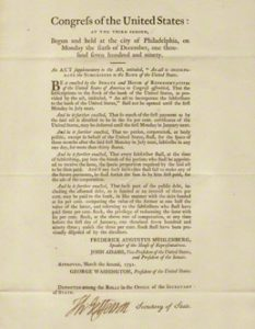 Broadside of a 1791 law concerning the Bank of the United States, one of 22 copies printed by order of Congress, signed by Jefferson as Secretary of State.