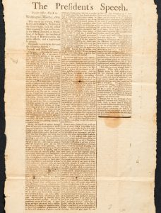 March 1801 Salem broadside of Jefferson's First Inaugural Address.