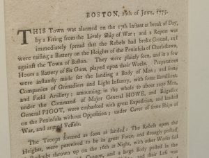 June 1775 Boston broadside containing a Loyalist account of the Battle of Bunker Hill.