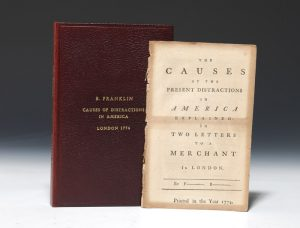 1774 printing of Franklin's Causes of the Present Distractions in America Explained, published anonymously