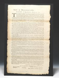 Broadside of a January 25, 1777 Massachusetts House of Representatives resolution enlisting men 16 years of age or older for the Continental Army.