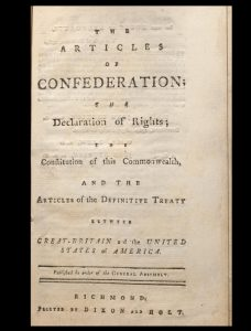 Pamphlet ordered printed by Virginia government in 1784—first Virginia printings of the ratified Articles of Confederation and the Treaty of Paris, with the Virginia Declaration of Rights and Constitution