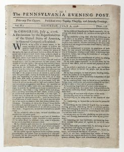 Library of Congress' copy of the July 6, 1776 Pennsylvania Evening Post