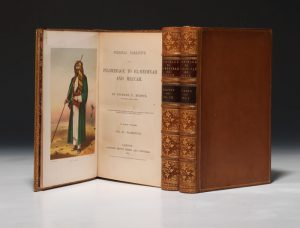 A first edition of Burton's Personal Narrative of a Pilgrimage to El-Medinah and Meccah, with a frontispiece portrait of Burton in Arab dress