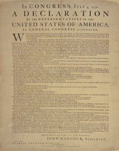 Library of Congress' copy of the Dunlap broadside of the Declaration of Independence