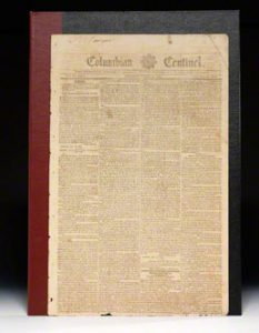 December 1794 issue of the Columbian Centinel, announcing Paul Revere's election as Grand Master of the Masons