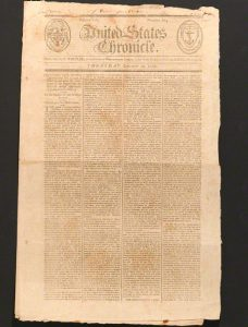 Washington's Farewell Address in the September 29, 1796 Rhode Island United States Chronicle, ten days after the first newspaper printing in Philadelphia