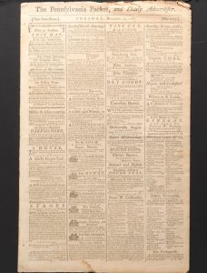 December 1787 issue of the Pennsylvania Packet, with advertisements on the front page