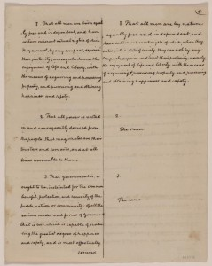 Library of Congress' copy of Madison's notes on the Virginia Convention, comparing the Declaration of Rights' committee draft (left) to the final version (right)