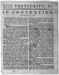 The Library of Congress' copy of a June 14, 1776 Virginia Gazette newspaper printing of the Virginia Declaration of Rights