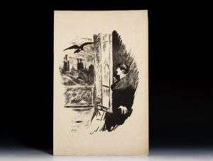 A plate from the magnificent 1875 French edition of the Raven, translated by Baudelaire and illustrated by Manet.