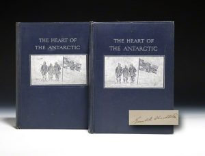 First trade edition of Shackleton's Heart of the Antarctic, signed by Shackleton.  Heinneman, 1909.