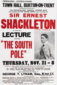 Poster advertising one of Shackleton's lecture tours.