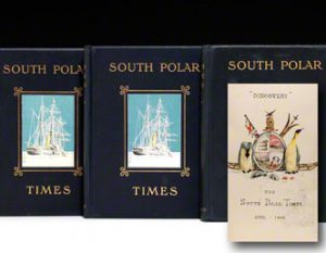 Limited first edition of the complete run of South Polar Times.  Smith & Elder, 1907 & 1914.  Volume I edited by E. Shackleton, issued in an edition of only 250 copies.