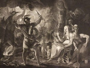 A plate from Boydell's Shakespeare Gallery, depicting a scene in Macbeth.