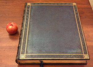 A single volume of the Macklin Bible, with an apple for scale.