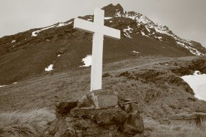 The Memorial Cross that Shackleton's crew built for him on South Georgia Island.