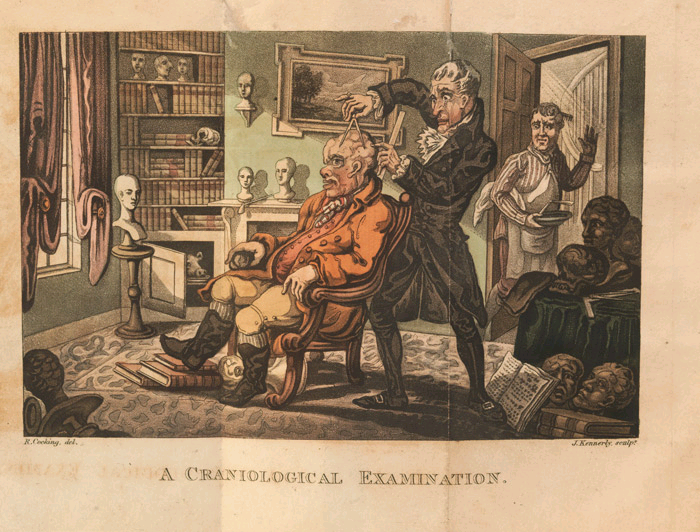 "Plate from an anoymously written 1816 satire on the then trendy ""science"" of Phrenology."