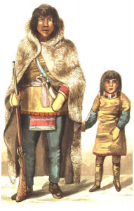 Chief Akaitcho of the Yellowknives tribe with his son.  Akaitcho was  recruited (along with several of his men) to act as guide and hunter  for Franklin's expedition.  The portrait was executed by expedition  member, Robert Hood.