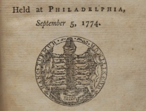 """After Congress adjourned, William and Thomas Bradford published the Journal of the Proceedings of the Congress from the official minutes. A work of great rarity, it is one of the earliest publications of the new government, preceded only by Bradford pamphlets containing partial extracts.  The printers designed a title page seal, which Edwin Wolf 2nd called """"the first attempt to represent emblematically a united nation""""—a pillar held by twelve hands standing on the Magna Carta, with the motto """"Hanc Tuemur, Hac Nitimur,"""" or """"this we defend, by this we are protected."""""""