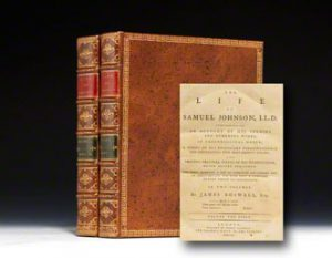 1791 first edition, first issue of James Boswell's Life of  Samuel Johnson.  London: Printed by H. Baldwin for C. Dilly.