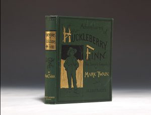 1885 first edition, first issue of Mark Twain's  Huckleberry Finn.  New York: Charles Webster.