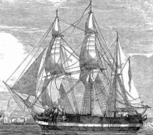 HMS Erebus as she appeared circa 1845.