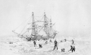 HMS Terror, as drawn by Captain George Back during his 1836 Arctic expedition.