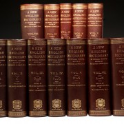 The 10-volume (here bound in 12) complete first edition set of the OED.