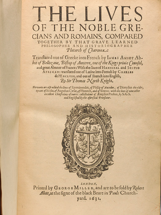 1631 edition of North's translation of Plutarch's Lives (BRB 90088)