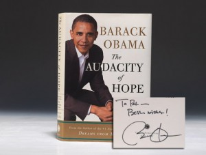 Inscribed first edition of Obama's The Audacity of Hope (BRB 87984)