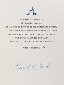 Signed limited first edition of Gerald Ford's Vision for America (BRB 91697)