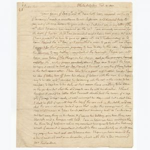 The first page of a lengthy autograph letter of particular historical interest, concerning the death of Jefferson's slave Jupiter (BRB 103402)
