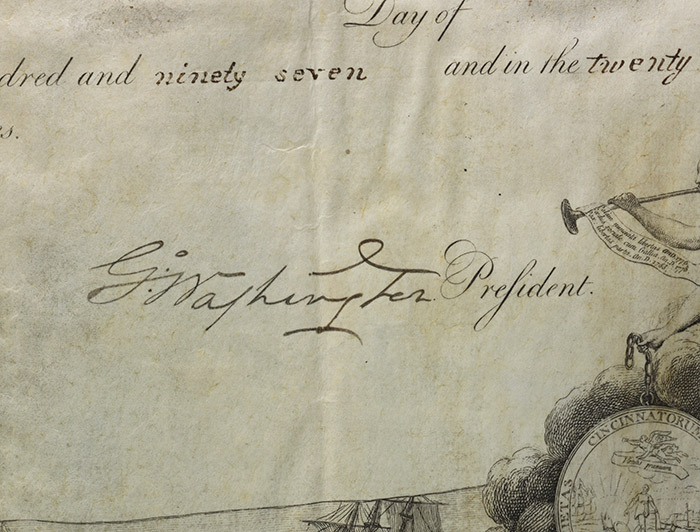 Detail of the Society of Cincinnati membership certificate, with Washington's bold signature (BRB 103275)