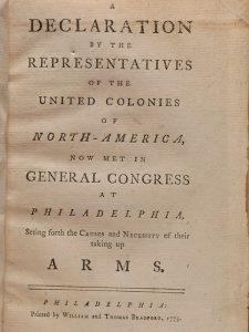 Title page of the first pamphlet printing for the Declaration on...Taking up Arms, composed for the Second Continental Congress by John Dickinson and Thomas Jefferson (BRB 89613)