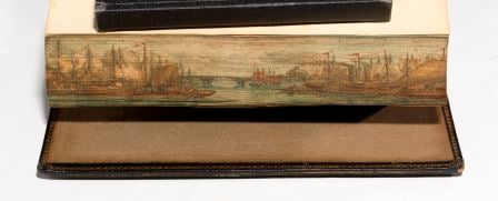 Ships on the Thames. A fore-edge painting on an 1811 first edition of Hodgson's biography of Reverend Porteus. (BRB 47744)