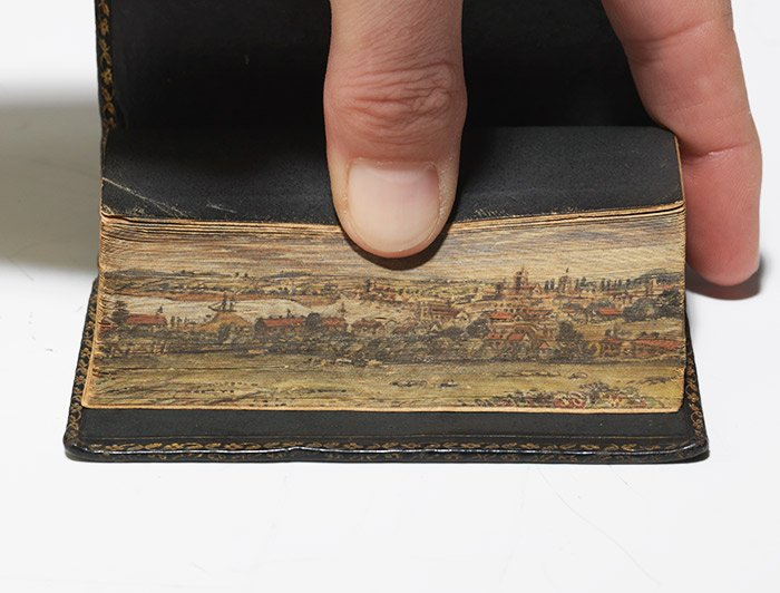 1827 edition of Sacred Dramas, retellings of Old Testament stories, by Hannah More with fore-edge painting (BRB 74695)