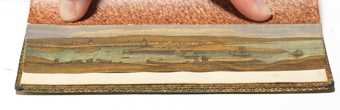 1816 edition of Beattie's poem The Minstrel, with a fore-edge painting of Aberdeen (BRB 29789)