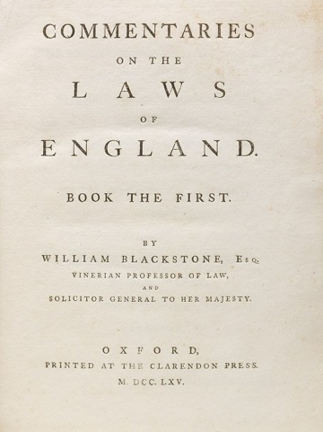 First edition of Blackstone's Commentaries (BRB #101037)
