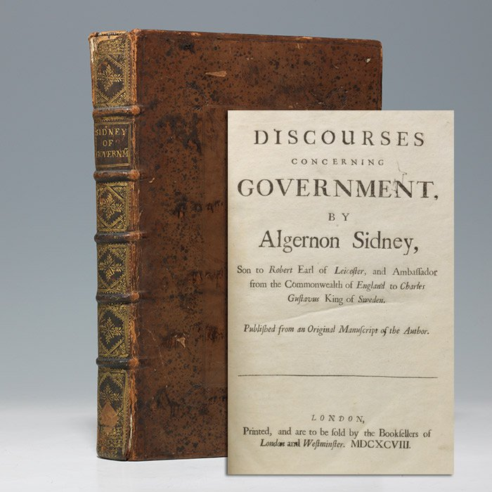 1698 first edition of Sidney's Discourses Concerning Government (BRB 104068)