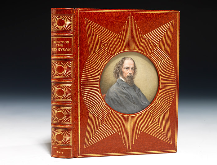 Limited edition of Alfred Tennyson's selected poetry in an exquisite Cosway signed binding, with a beautiful miniature painting of Alfred Tennyson executed on ivory (BRB 73972)