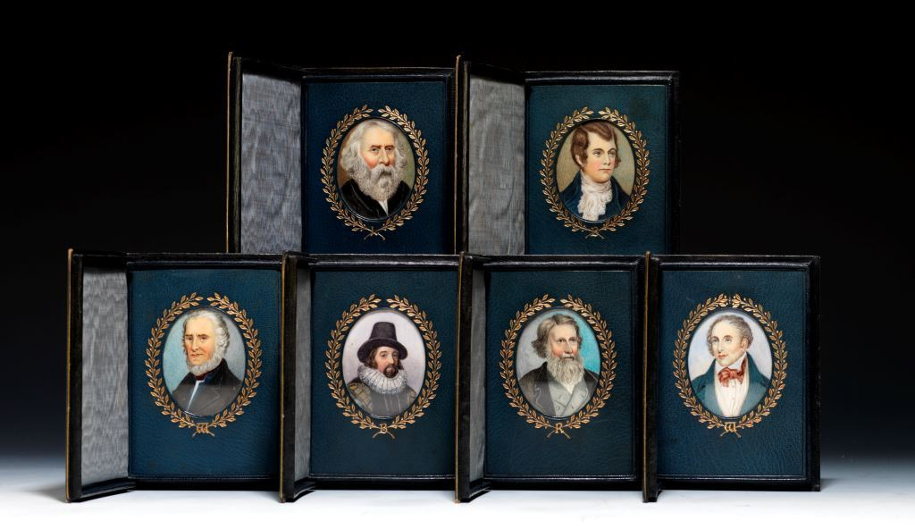 A collection of six Cosway-style portraits of literary luminaries: Wordsworth, Whittier, Longfellow, Burns, Bacon, and Ruskin (BRB 73626)