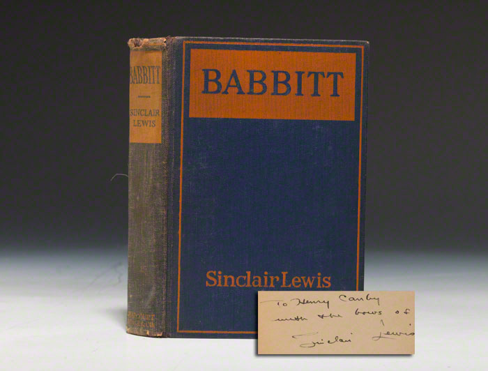An inscribed first edition of Babbitt (BRB 80073)