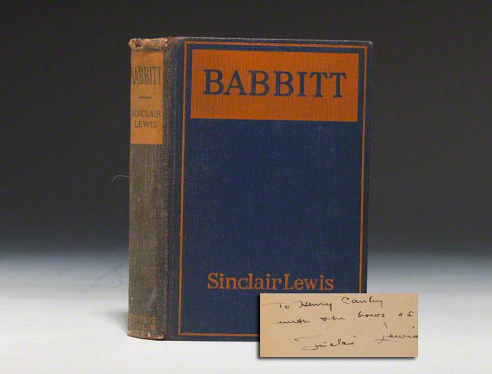 An inscribed first edition of Babbitt (BRB 80073)