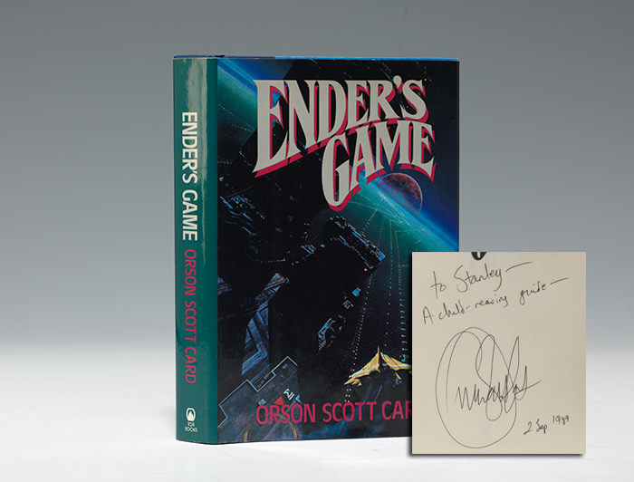 A first edition, 1985, of Ender's Game by Orson Scott Card, inscribed (BRB 100870)